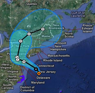 hurricane sandy s projected path as of 9 am monday map courtesy of noaa