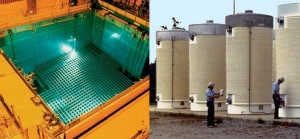 A spent fuel pool and dry casks. (Both photos courtesy of the US Nuclear Regulatory Commission)