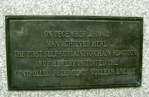 From here to eternity: a small plaque on the campus of the University of Chicago commemorates the site of Fermi's first atomic pile--and the start of the world's nuclear waste problem. (Photo: Nathan Guy via Flickr)